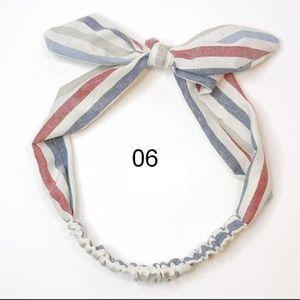 White Nautical Striped Stretch Knotted Headband
